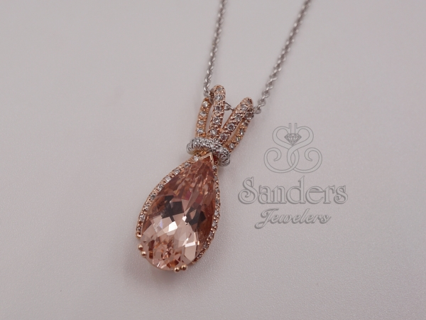 Pendants & Necklaces - Morganite and Diamond Pendant